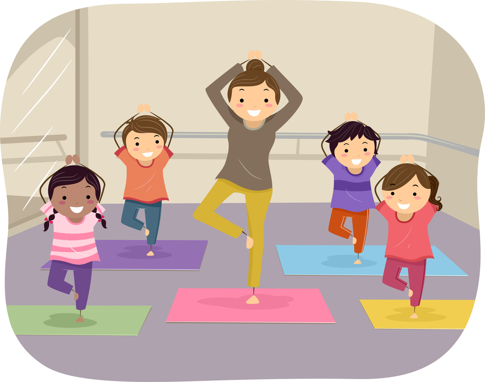 Illustration of Kids Learning Yoga Through the Help of an Instru